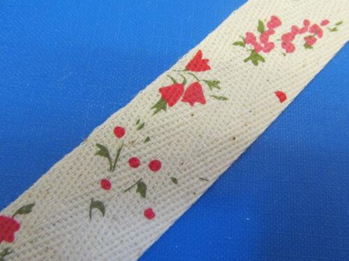 """wide Cotton Floral Super Ribbon Collection 1 /"""" 4 colours 99p metre 25mm"""