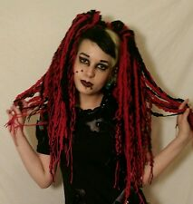 Gothic cyber punk emo pair of red and black woven wool hair falls lolita