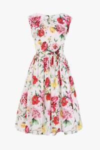 1295-Dolce-amp-Gabbana-AUTH-NEW-Pink-Red-Multi-Floral-Poplin-Sleeveless-Dress-44