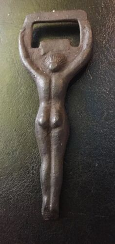 Nude Burlesque Bottle Opener Solid Metal Patina Beer Brewery Depression Style G//