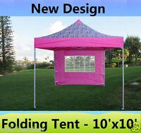 10' X 10' Pop Up Canopy Party Tent Gazebo Ez - Pink Zebra - E Model