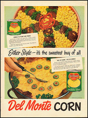 1950's Vintage Ad For Del Monte Corn/vintage Food Recipes In Ad Fine Craftsmanship 031413