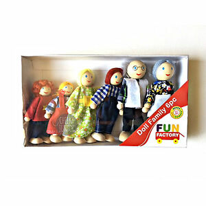 NEW-Wooden-Doll-House-Family-of-6-Posable-Dolls-Free-Postage
