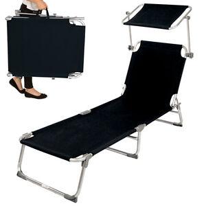 alu gartenliege sonnenliege liegestuhl liege klappbar mit dach 190cm schwarz ebay. Black Bedroom Furniture Sets. Home Design Ideas