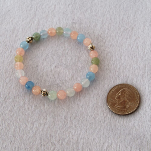 Morganite Stretch Bracelet with Silver Accent Beads