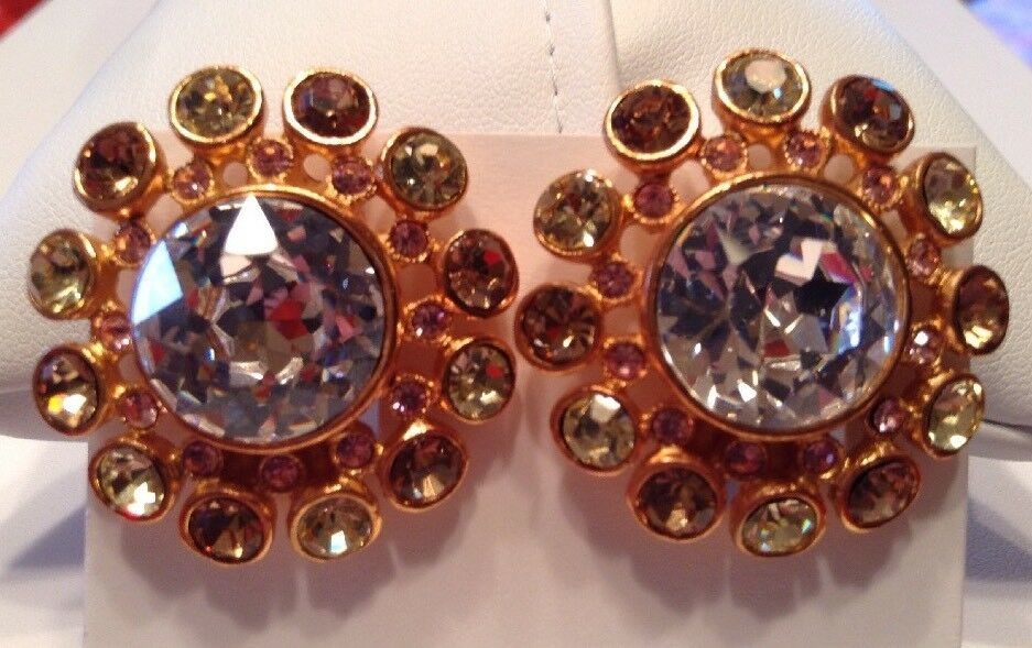 Vintage CHRISTIAN LACROIX Jewelry Coloured Crystal Clip On Earrings gold Plated