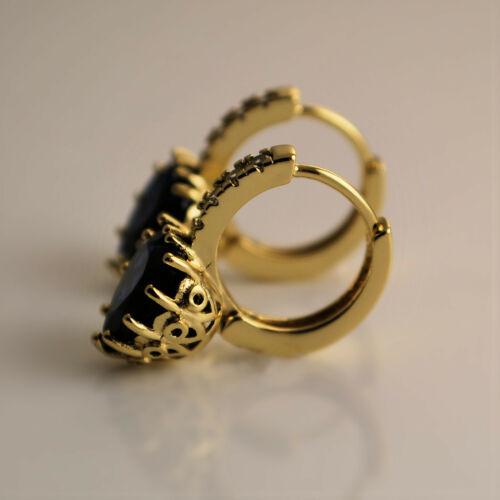 Yellow Gold Filled Heart Sapphire Blue Crystal Dangle Drop Hoop Earrings UK