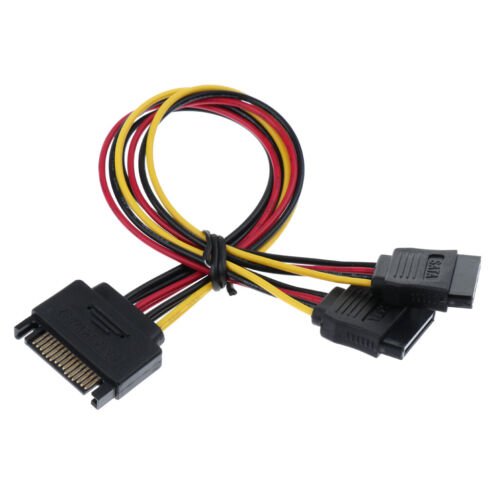 SATA 15pin Male to 2 Dual Female Extender Y-Splitter Cable 200mm//8 Inch