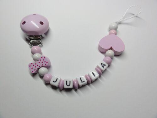 Schnullerkette mit Namen★Schleife Herz★Rosa Weiß★Mädchen★Babygeschenk