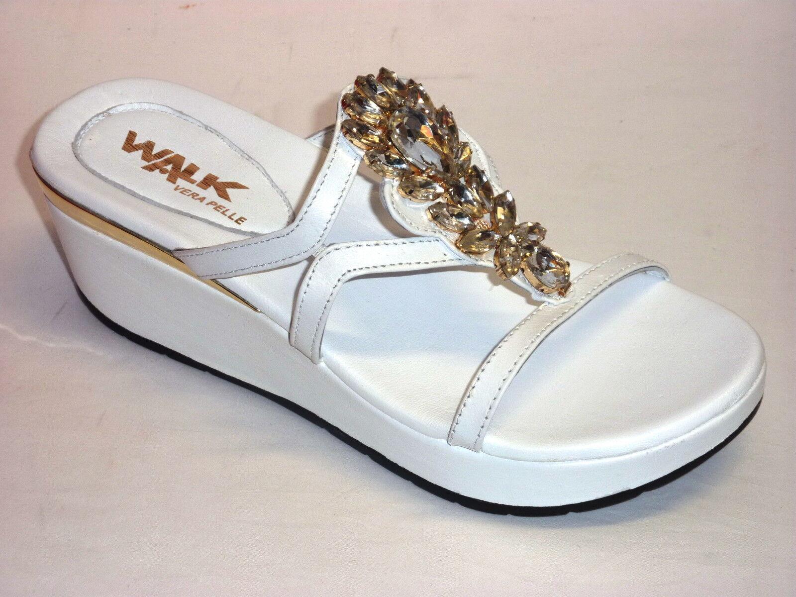 K80031 MELLUSO WALK WALK WALK CIABATTE mujer CON ZEPPA  PELLE blanco CON STRASS  n. 39  buscando agente de ventas