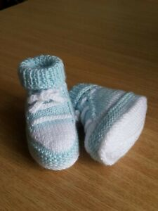 Newborn Spanish Knitted Baby Booties White Ivory Pink Blue Boys Girls Cable Knit