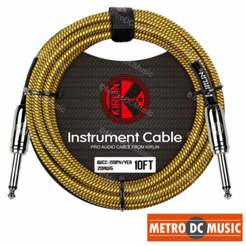 "2-Pack Kirlin 10ft Yellow Woven Guitar Bass Instrument Cord Cable 20AWG 1//4/"" NEW"
