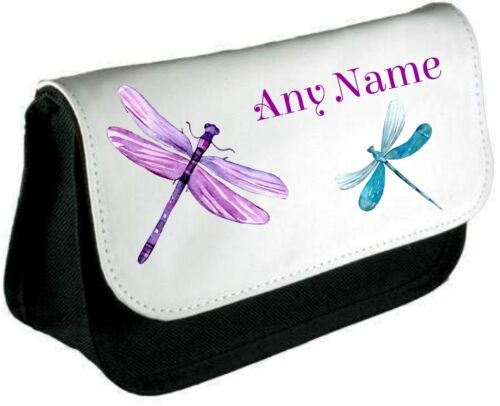 Personalised DRAGONFLIES Pencil Case//Make Up Bag *Choice of text colour*