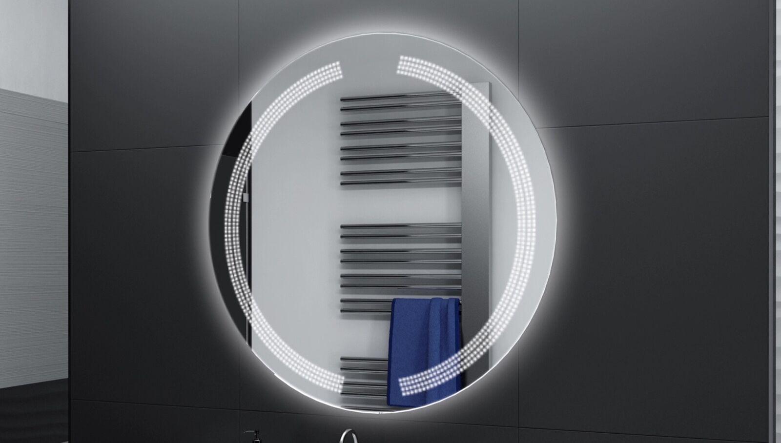 Badspiegel Rund m LED Beleuchtung Badezimmerspiegel Bad Spiegel Wandspiegel DR14