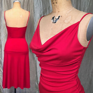 5892640d332 M Vintage 90s Red Dress by Ruby Swing Pinup Rockabilly Cowl Neck ...
