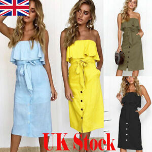 10f5954b7f52ff UK Women Off Shoulder Bardot Midi Dress Ladies Summer Ruffle Belted ...