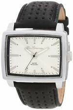 NEW MENS BEN SHERMAN WATCH SILVER RECTANGULAR DIAL BLACK LEATHER STRAP R823