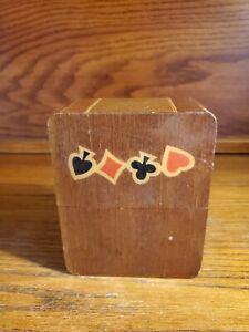 Vintage-Decorative-Playing-Cards-Storage-Box-Double-Deck-Holder-Solid-Wood