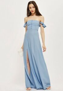FLYNN-SKYE-Topshop-Ladies-S-8-Maxi-Dress-Light-Blue-Button-Bardot-BNWT-RRP-150