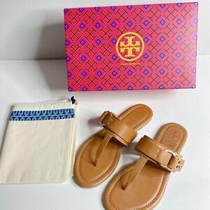 New-Tory-Burch-Marsden-Flat-Logo-Thong-Tan-Calf-Leather-Sandals-Size-5-5