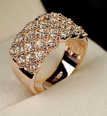 18K Rose Gold Plated GP  Crystal Wide Ring Size 6,7,8,9,10