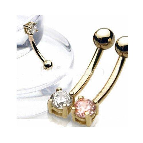 "1 Pc 14K Solid Gold Prong Set Pink C.Z Eyebrow Ring 16 gauge 3/8"""