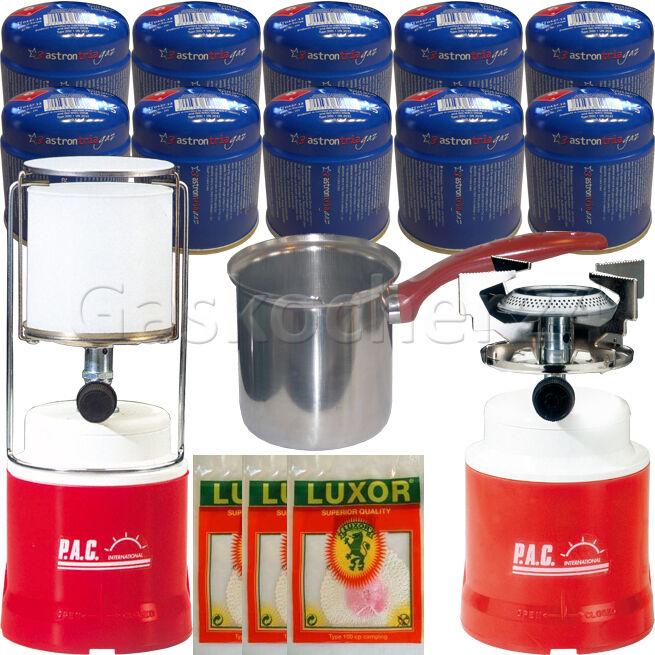 16-teiliges PAC-SPARSET Gaslampe Gaslampe Gaslampe Gaskocher Gaskartuschen Glühstrümpfe Piezo 8c4ad2