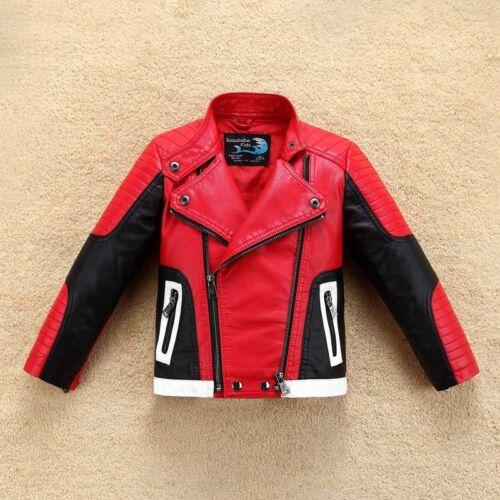 Handsome Cool Design Boys Leather Motor Jacket Fall Spring Kids Warm Coat Bomber