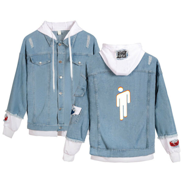 Billie Eilish Damen Jeansjacke Sweatshirt Girls Long Sleeve Hoodie Coat Pullover