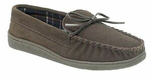 MENS SIZE 6 7 8 9 10 11 12 MID BROWN REAL SUEDE LEATHER MOCCASIN LACE UP SLIPPER