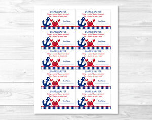 Nautical Crab Under The Sea Printable Baby Shower Diaper