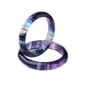 Natural-Rainbow-Fluorite-Gemstone-Crystal-Quartz-Handmade-Bracelet-Bangle56-59mm