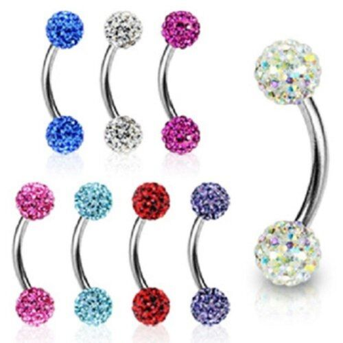 1pc boules 8 mm Barbell 4//4mm Ferido Sparkle courbé Barbell Acier chirurgical 16 g