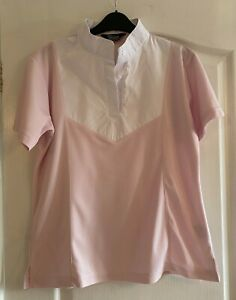 Shires Equestrian Ladies Competition Shirt Pink & White Large