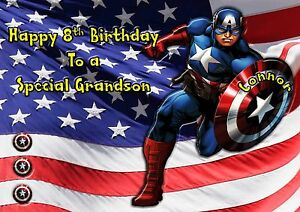 Marvels Captain America large card son grandson personalised