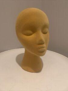 Vintage Norman Kartiganer Mannequin Head Yellow VELVET Wig Stand Hat