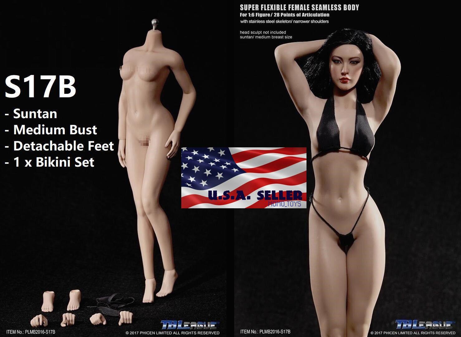 PHICEN 1/6 S17B Seamless Steel Skeleton M Bust Female Body SUNTAN TBLeague USA