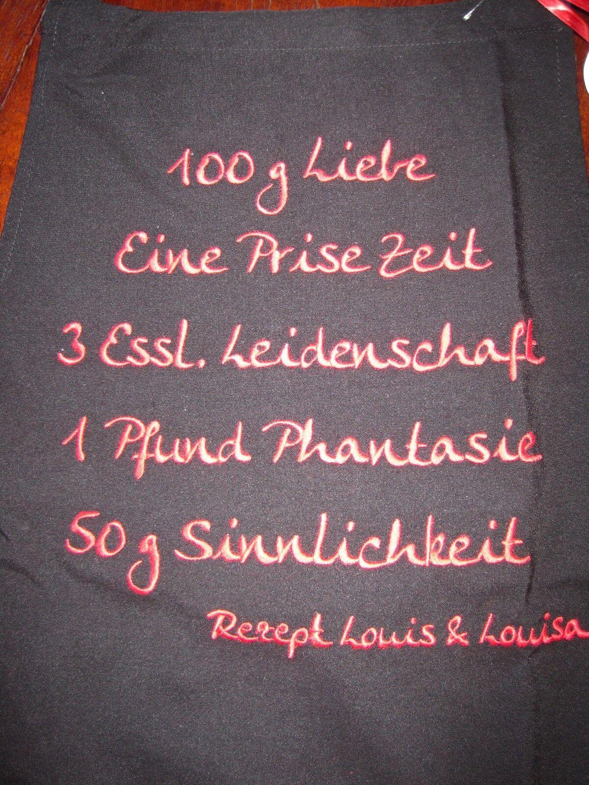 Schürze Liebesrezept schwarz von Louis & Louisa  | Schnelle Lieferung