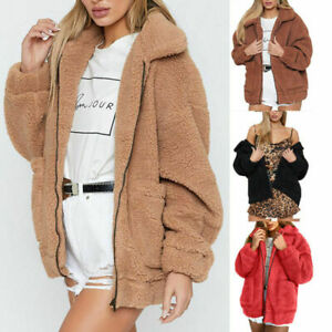 Details about UK Womens Teddy Bear Oversized Coat Ladies Borg Zip Faux Fur Jacket Size 6 18