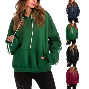 6c37825a059 Womens Hoodies Casual Sweatshirt Winter Ladies Baggy Jumper Coat ...