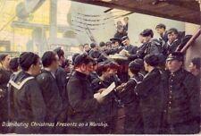 1909 DISTRIBUTING CHRISTMAS PRESENTS ON A WARSHIP