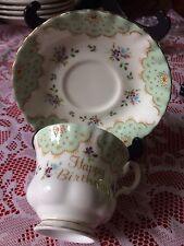 Royal Albert Happy Birthday Cup & Saucer Gold  Trim Gift Idea