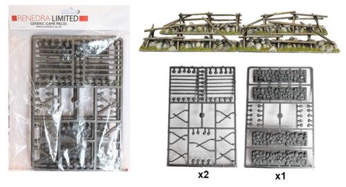 28mm ACW Black Powder Renedra Plastic Split Rail Fencing with Low Stone Walls