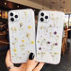 Glitter Real Dried Flower Clear Phone Case Cover for iPhone 13 12 11 Pro 7 8+ XR