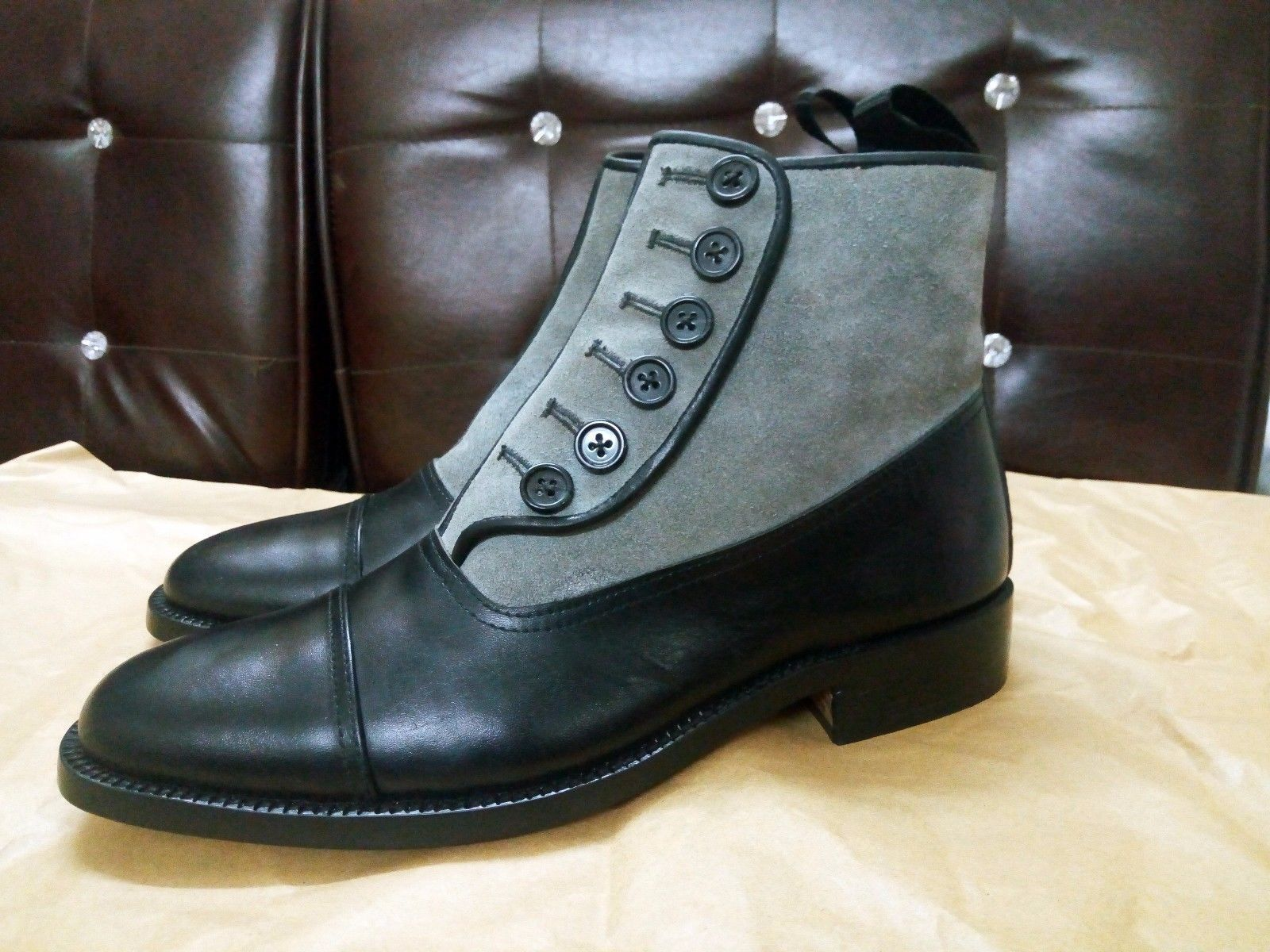 MENS HANDMADE BUTTON TOP BOOTS FORMAL DRESS FASHION TUXEDO OFFICE BUSINESS BOOTS