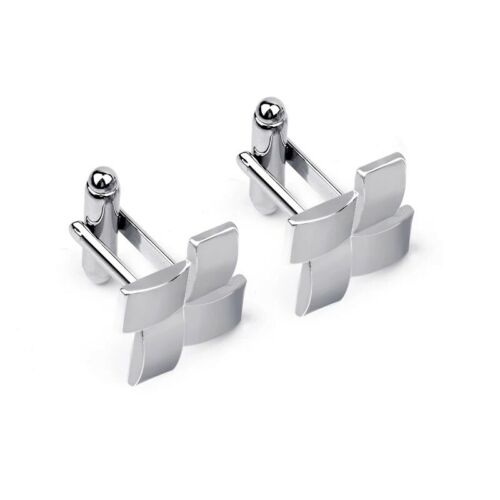 Silver Windmill Cufflinks Business Wedding Formal for Suit Formal Grooved