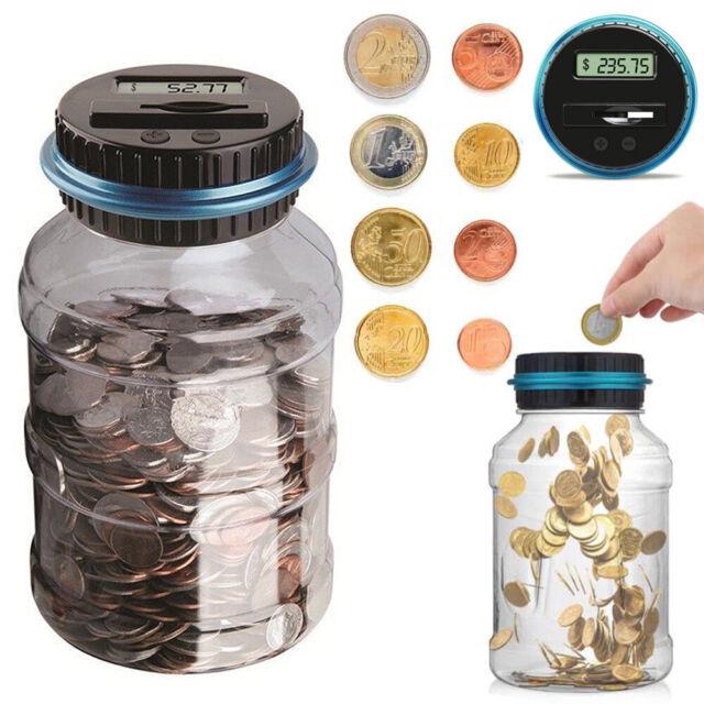 Change Counter Machine Digital Coin Money Bank Clear Digital LCD Piggy Bank US