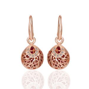 New 18K Rose GOLD Filled Vintage Filigree Drop Earrings With SWAROVSKI CRYSTAL 600682258685