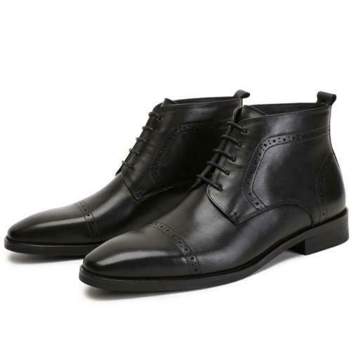 Mens Ankle Boots Shoes Square Toe Carved Work Office Business Lace up Wedding Sz