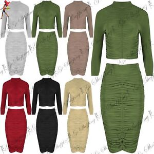 Women Ladies Long Sleeve Polo Neck Crop Top Ruched Bodycon Midi Skirt Co-ord Set